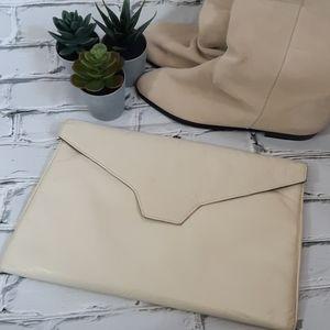 Vintage Cream Leather Clutch